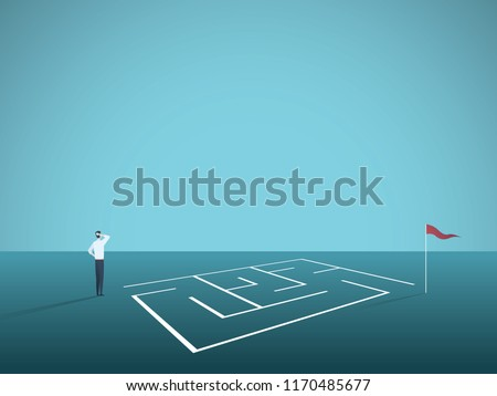Business solution vector concept with businessman standing in front of maze, labyrinth. Symbol of challenge, strategy, decisions, problem solving. Eps10 vector illustration.
