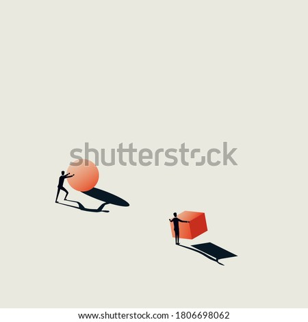 Business solution vector concept with different approach. Symbol of motivation, success, ambition, hard work. Eps10 illustration.