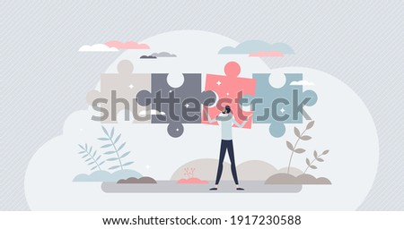 Business solutions and difficult problem solving process tiny person concept. Find project missing parts and complete for goal success vector illustration. Smart work decision and choice from leader. ストックフォト ©