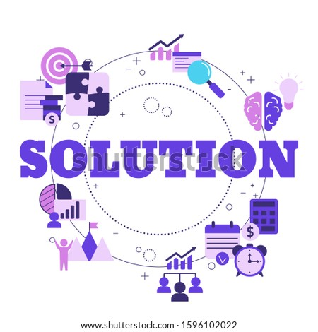 Business solutions concept with icons. Solution and success, strategy vector illustration