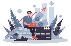 Business solutions for finance vector illustration. Employee investing capital. Increasing revenue and profits concept. Using internet technologies for making money and growth dividend