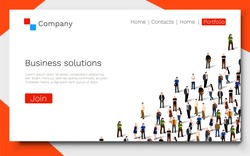 Business solutions. Teamwork and success concept. Landing page concept. Vector illustration