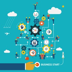 Business start infographics template. Scheme with humans, icons and gears