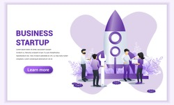 Business start up concept with people work near a rocket ready getting launch. Can use for web banner, infographics, landing page, web template. Flat vector illustration
