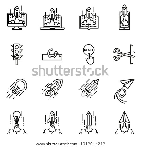 Business Start up icon concept on white background. Rocket Launch. Line Style stock vector.