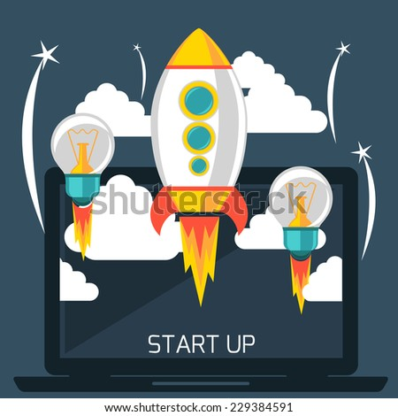 Business start up idea template Start up rocket idea New business project start up launching new product or service in flat design