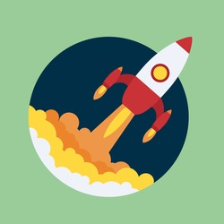 Business Start up launch concept. Flat trendy rocket start up icon