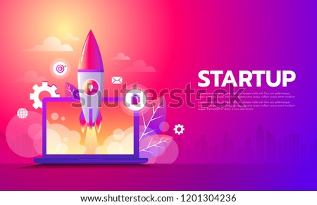 Business Start up launching product with rocket concept. Template and Background. Startup Concept.
