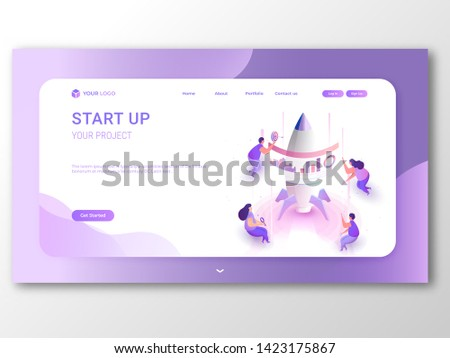 Business Start Up responsive landing page or banner design, illustration of new entrepreneurs working for their startup growth or success.