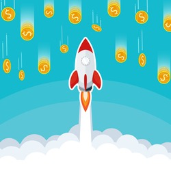 business start up,rocket launch on sky cloud,gold coin falling from sky flat vector
