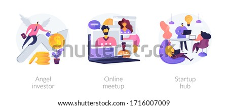 Business startup and communication abstract concept vector illustration set. Angel investor, online meetup, startup hub, financial support, online crowdfunding, entrepreneurship abstract metaphor.