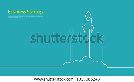 business startup competition banner concept Rocket  Vector and illustration flying rocket.Space travel to the moon.Space rocket launch.Project start up Solar System and text space