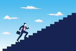 Business startup concept. Businessman running the stairs up to be success. vector illustration in flat style