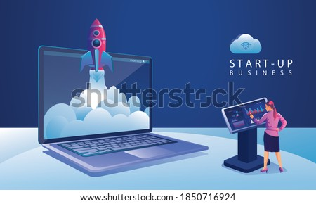 Business Startup launching product with rocket concept. Template and Backgrounds Vector illustration, business project startup process idea through planning and strategy, time management, realization