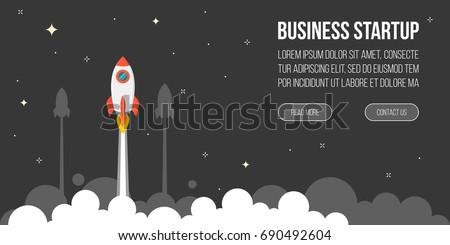 business startup template for banner, flying rocket to night sky with star and cloud, flat design vector