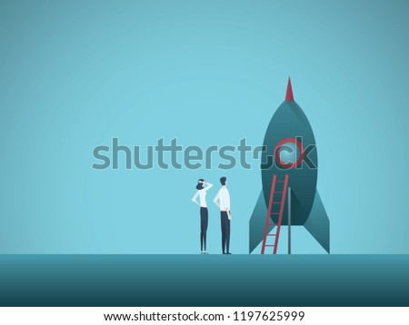 Business startup vector concept with business woman and man standing next to a rocket. Symbol of new business, entrepreneurship, innovation and technology. Eps10 vector illustration.
