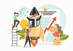 Business startup with new ideas, vision, growth strategy, professional team tiny people, vector flat illustration. Business project launch, innovation, entrepreneurship, teamwork.