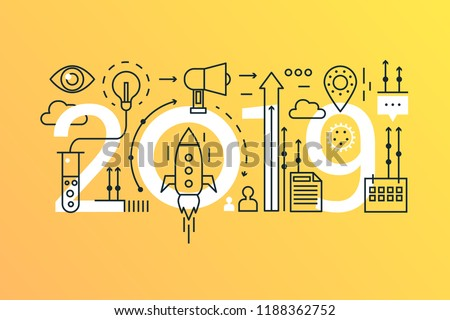 Business startup 2019 word trendy composition concept banner. Outline stroke start up solution, big idea. Flat line icons lettering typography.
