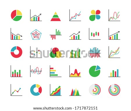 Business statistics colorful icon set. Collection of 30 abstract graphs/charts/diagrams. Infographics, data analysis, stats tools. Vector illustration.