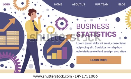 Business Statistics Horizontal Banner. Businessman, Thinking Consultant or Couch Trainer Stand on Abstract Background with Growing Charts, Graphs, Gears and Cogwheels. Cartoon Flat Vector Illustration
