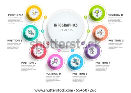 Business 8 step process chart infographics with step circles. Circular corporate graphic elements. Company presentation slide template. Modern vector info graphic layout design.