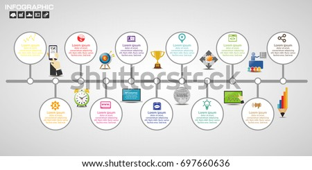 Business steps timeline infographics design template with 3-12 options, process diagram, vector eps10 illustration. Use for flow chart diagram website.
