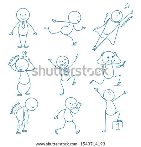 Business stickman. Hand drawn figures in different action poses running standing holding pointing sitting jumping vector business doodles. Illustration stickman cartoon drawing, figure character