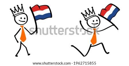 business stickman waving withe