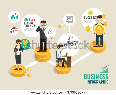 Business stock market board game flat line icons concept infographic step to successful,vector illustration