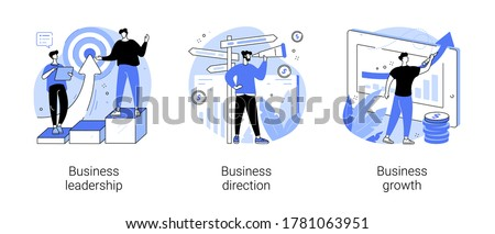 Business strategy abstract concept vector illustration set. Business leadership, direction and growth, goal achievement, planning, vision and setting goals, team investment abstract metaphor.