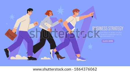 Business strategy, analysis, growth, success, leadership concept. Successful businessman, businesswoman, team, partners walking together. Start up, company employees working together, teambuilding.