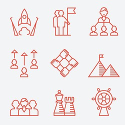 Business strategy and teamwork icons, thin line flat design