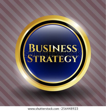 Business strategy blue golden button with background.