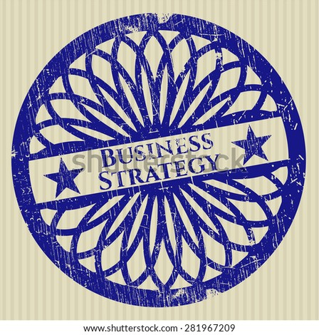 Business strategy blue rubber grunge stamp