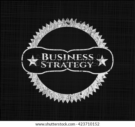 Business Strategy chalk emblem, retro style, chalk or chalkboard texture
