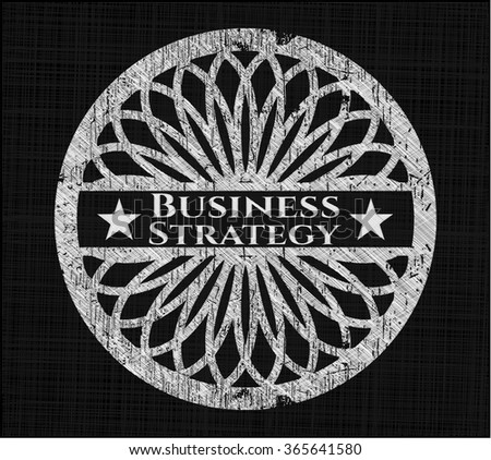 Business Strategy chalkboard emblem on black board