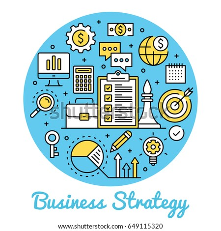 Business strategy. Circle concepts business banner. Thin line art design. Modern graphic design line icons, flat elements set for websites, web banners, infographics. Creative vector illustration
