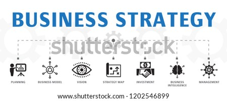Business strategy concept template. Horizontal banner. Contains such icons as planning, business model, vision, development