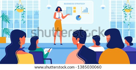Business Strategy Courses for Women. Businesswoman Coach in Fashioned Dress Doing Presentation, Read Lecture or Seminar at Big Screen with Graphs for Female Audience. Cartoon Flat Vector Illustration.