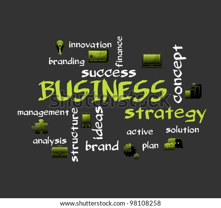 Business strategy. Creative vector background with icons.