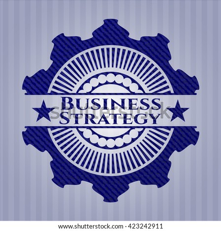 Business Strategy emblem with denim high quality background