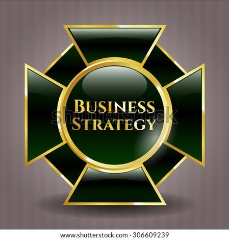 Business Strategy gold shiny emblem