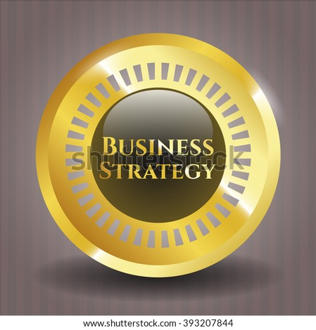 Business Strategy gold shiny emblem