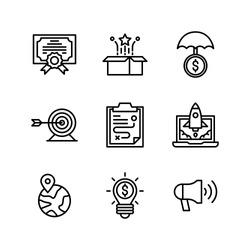 Business & Strategy icon set = Certificate, unboxing, insurance, tartget goal, tactics, rocket launch, world, idea, megaphone