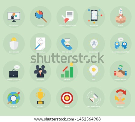 Business strategy icon vector set