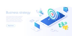 Business strategy isometric vector illustration. Data analytics for company marketing solutions or financial performance. Budget accounting or statistics concept.