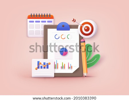 Business strategy. Landing page template. Business analysis, content strategy and management concept. 3D Web Vector Illustrations.