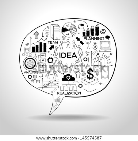 business strategy plan concept idea speech bubble with doodle icons File stored in version AI10 EPS This image contains transparency