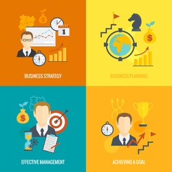 Business strategy planning icon flat set with effective management achieving a goal isolated vector illustration