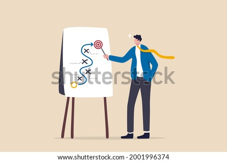 Business strategy planning, marketing tactic to achieve target, project blocker and solution to win and success concept, smart businessman presenting business winning strategy on whiteboard. Photo stock ©